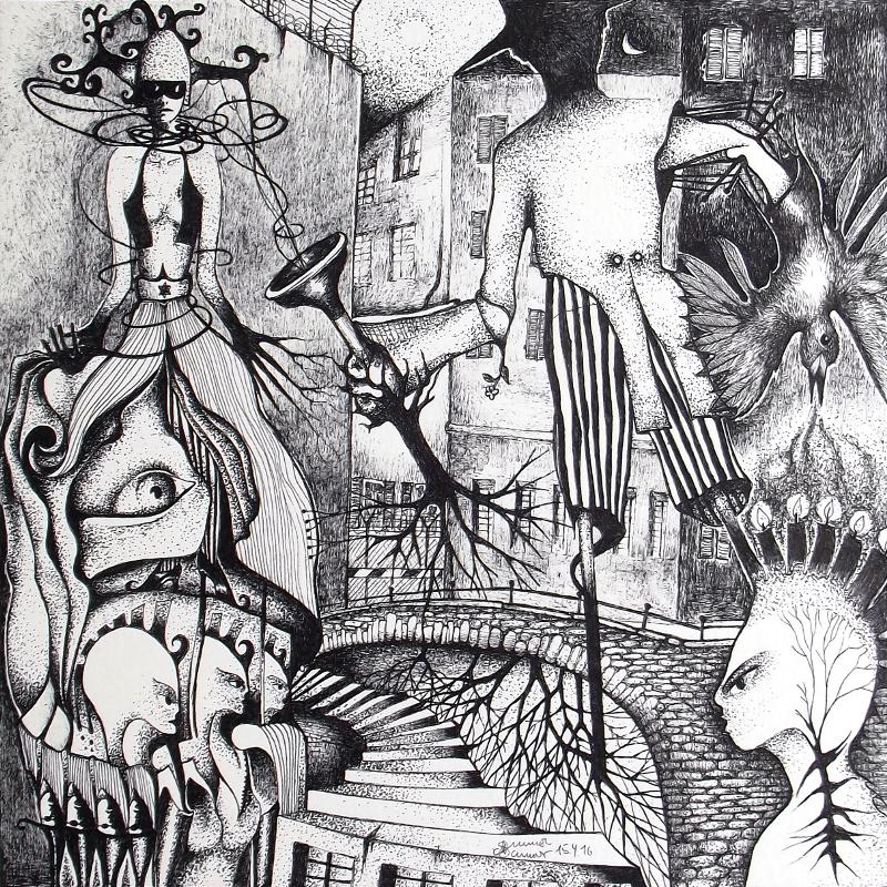 Zeichnung Nr. 29 aus meinem Piemonteser Zeichenbuch | Tinte auf Papier | 18,5 x 18,5 cm (Papierformat: 25 x 25 cm)