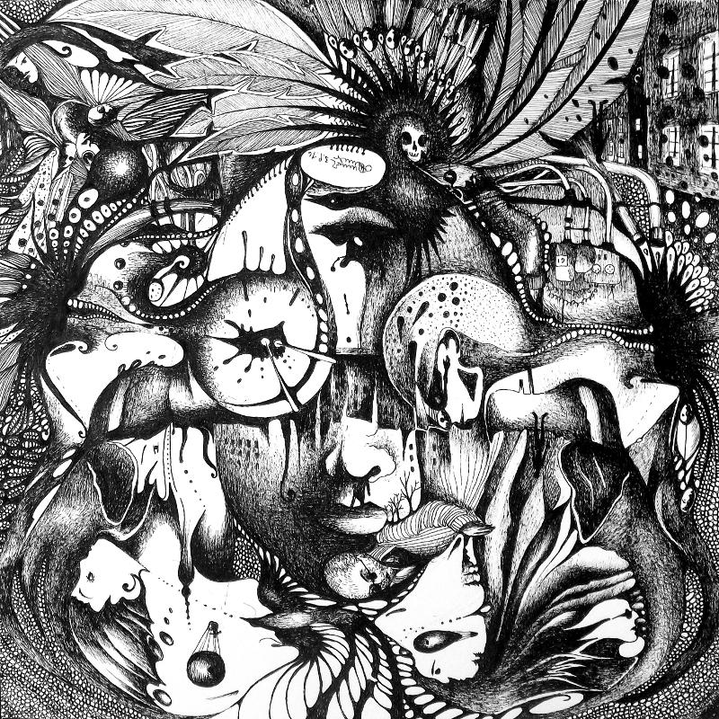 Zeichnung Nr. 35 – Piemonteser Zeichenbuch | Tinte auf Papier | 18,5 x 18,5 cm (Papierformat: 25 x 25 cm)