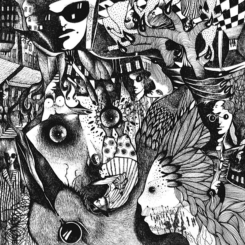 Zeichnung Nr. 36 – Piemonteser Zeichenbuch | Tinte auf Papier | 18,5 x 18,5 cm (Papierformat: 25 x 25 cm) - um 180 Grad gedreht