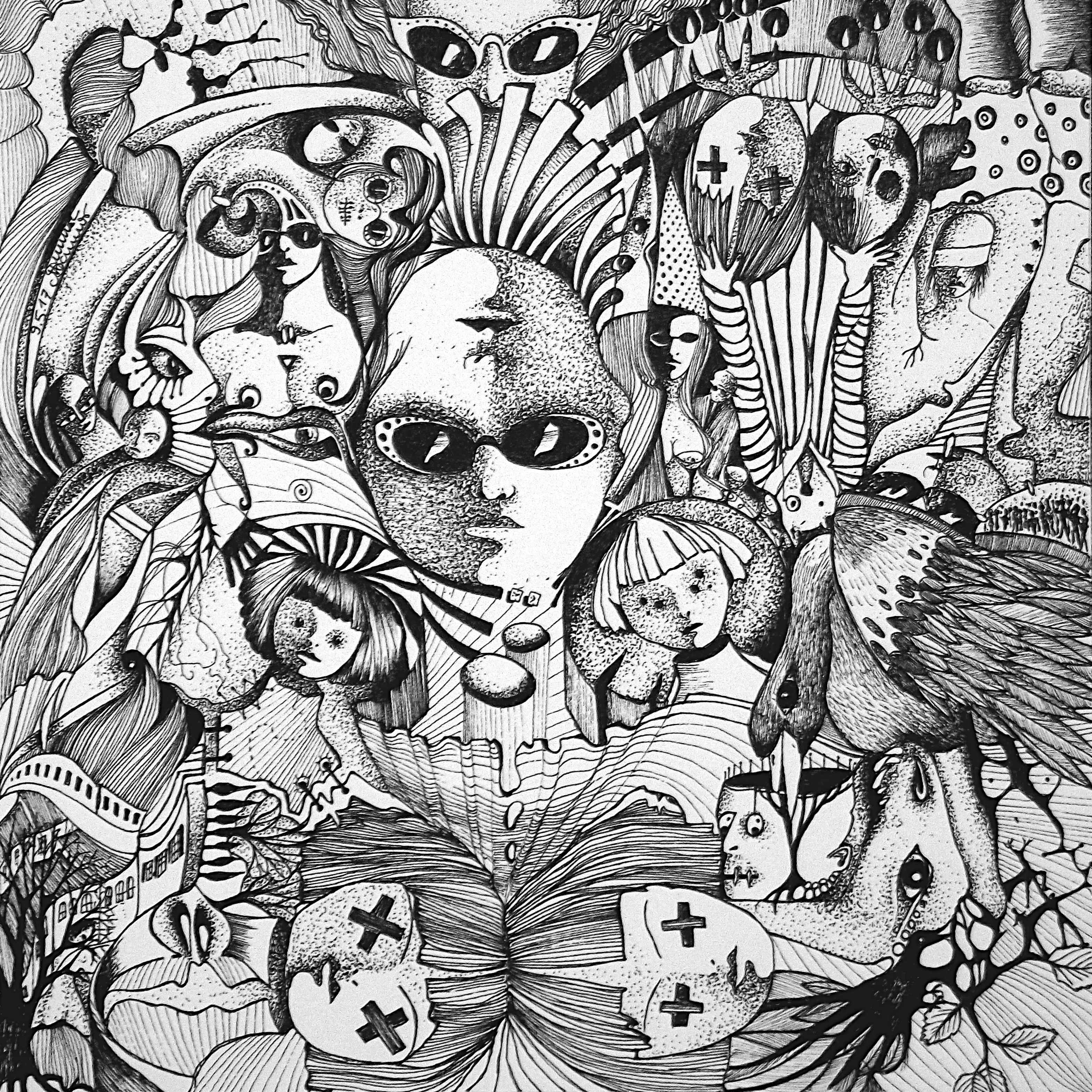 Zeichnung Nr. 42 | Tinte auf Papier | 18,5 x 18,5 cm (Papierformat 25 x 25 cm)
