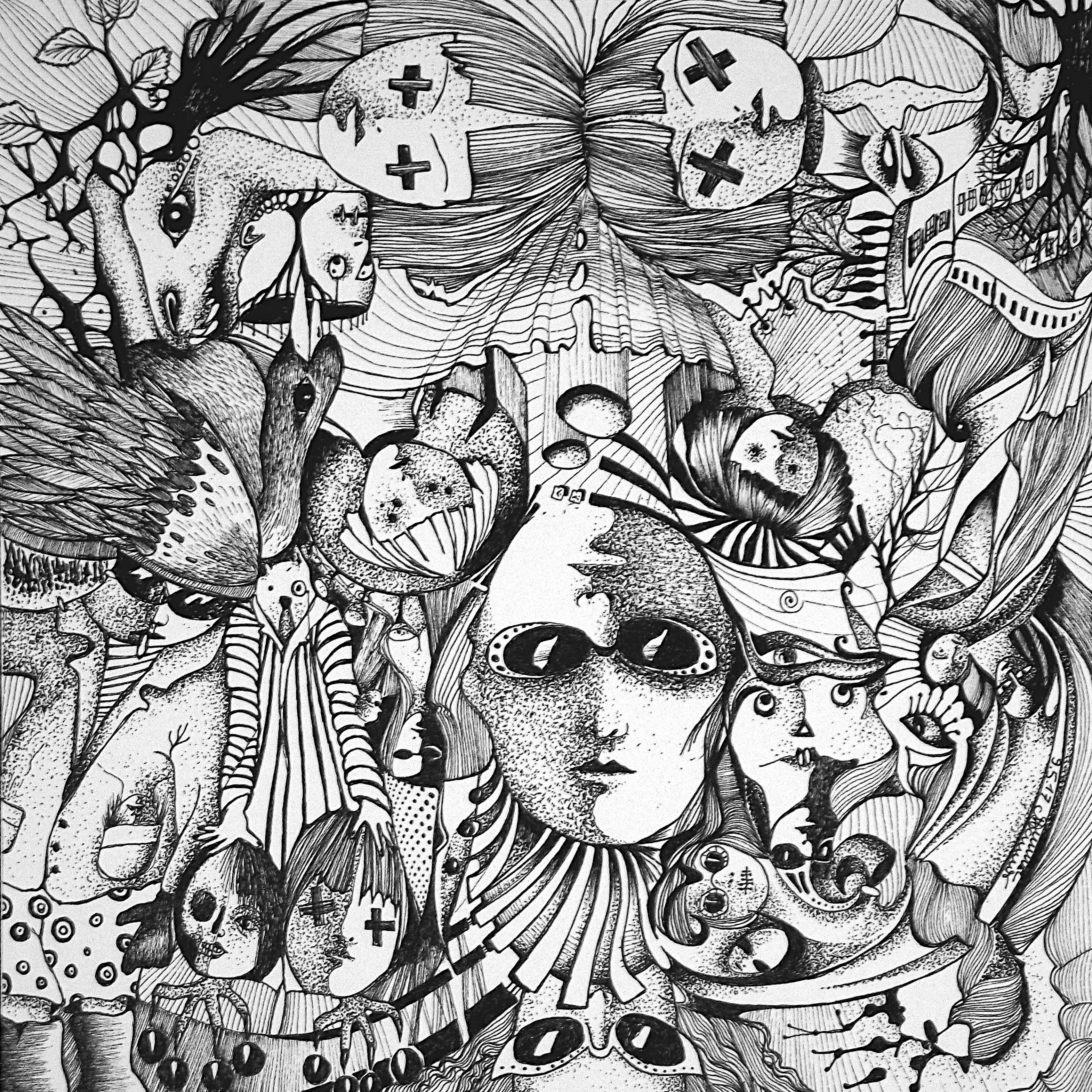 Zeichnung Nr. 42 | Tinte auf Papier | 18,5 x 18,5 cm (Papierformat 25 x 25 cm) - um 180° gedreht