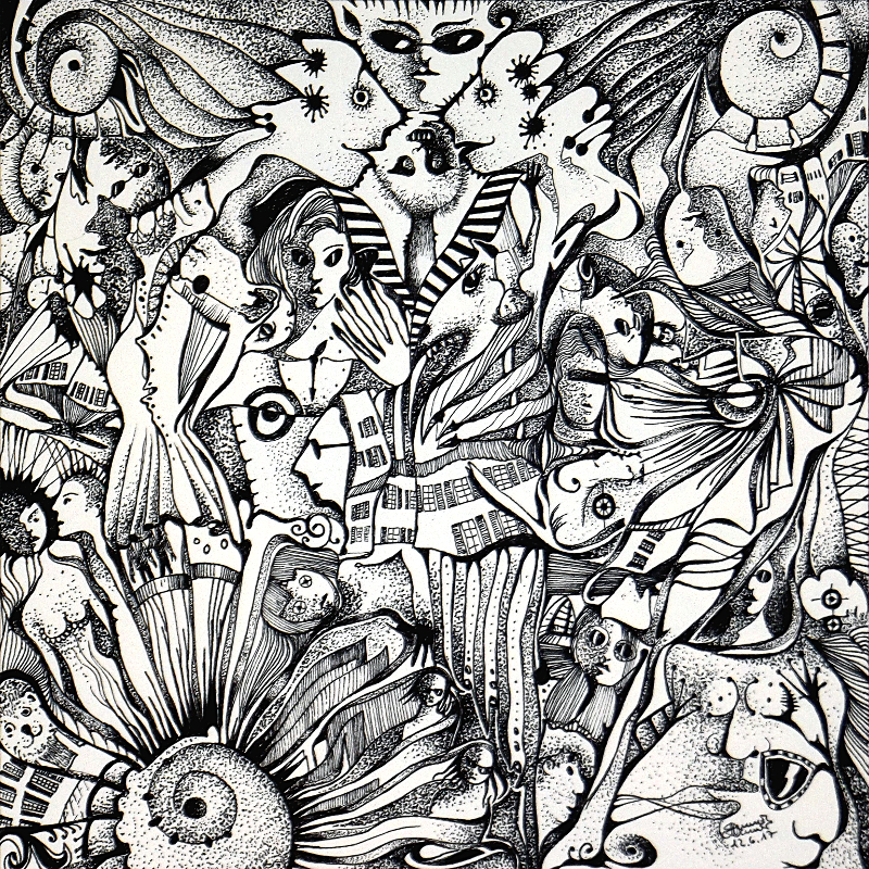Zeichnung Nr. 43 | Tinte auf Papier | 18,5 x 18,5 cm (Papierformat 25 x 25 cm)