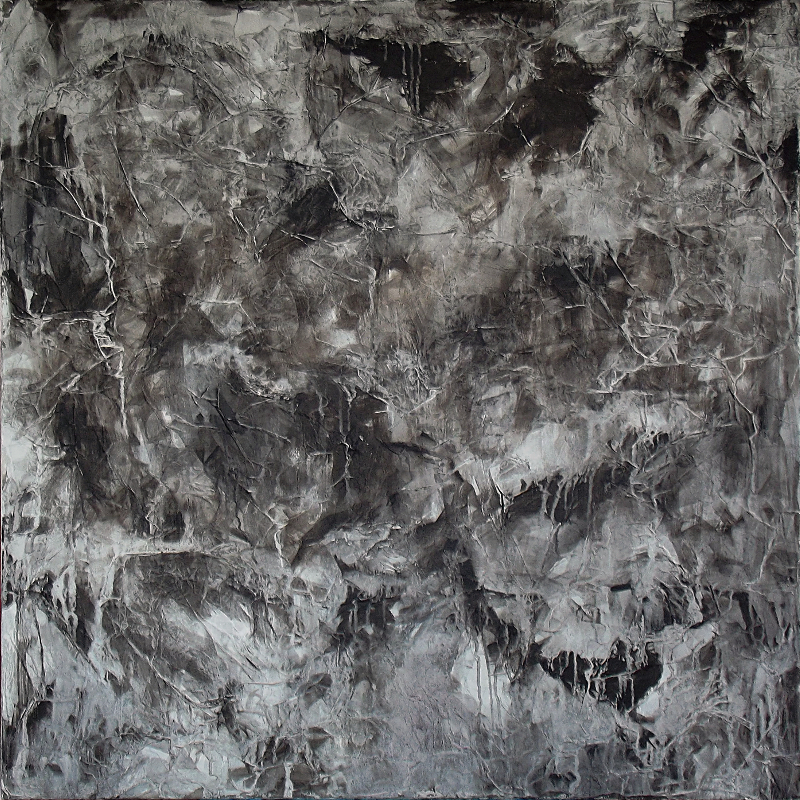 Michael Schmidt: The rock | Mixed Media auf Leinwand | 100 x 100 cm