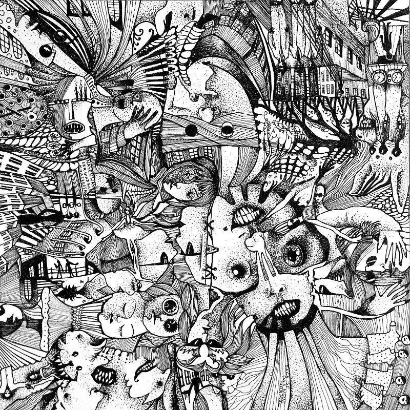 Piemonteser Zeichenbuch Nr. 46 | Tinte auf Papier | 18,5 x 18,5 cm (Papierformat 25 x 25 cm) - um 180 Grad gedreht
