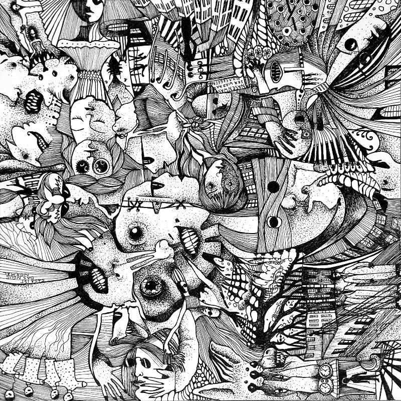 Piemonteser Zeichenbuch Nr. 46 | Tinte auf Papier | 18,5 x 18,5 cm (Papierformat 25 x 25 cm) - um 270 Grad gedreht