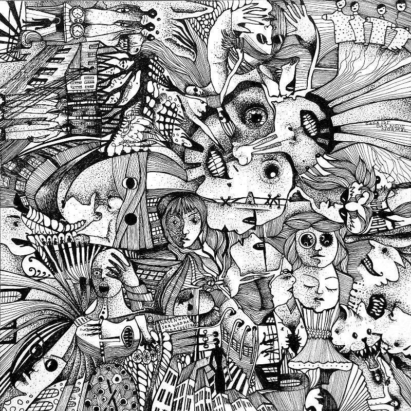 Piemonteser Zeichenbuch Nr. 46 | Tinte auf Papier | 18,5 x 18,5 cm (Papierformat 25 x 25 cm) - um 90 Grad gedreht