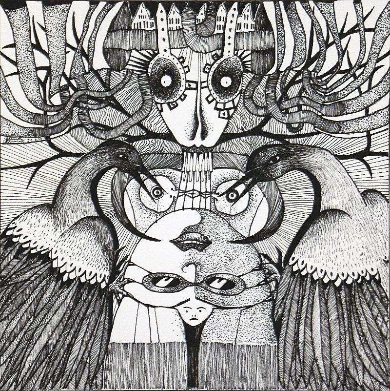 Michael Schmidt: Piemonteser Zeichenbuch, Zeichnung Nr. 47 | Tinte auf Papier | 18,5 x 18,5 cm (Papierformat 25 x 25 cm)