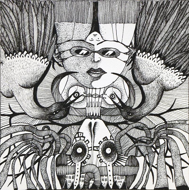 Michael Schmidt: Piemonteser Zeichenbuch, Zeichnung Nr. 47 | Tinte auf Papier | 18,5 x 18,5 cm (Papierformat 25 x 25 cm) - um 180 Grad gedreht