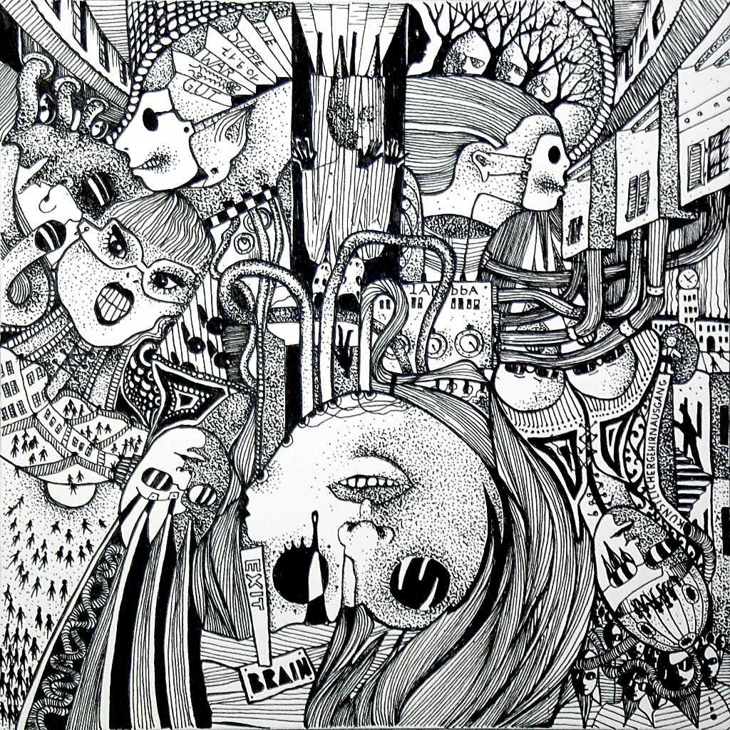 Michael Schmidt: Piemonteser Zeichenbuch, Zeichnung Nr. 48 | Tinte auf Papier | 18,5 x 18,5 cm (Papierformat 25 x 25 cm