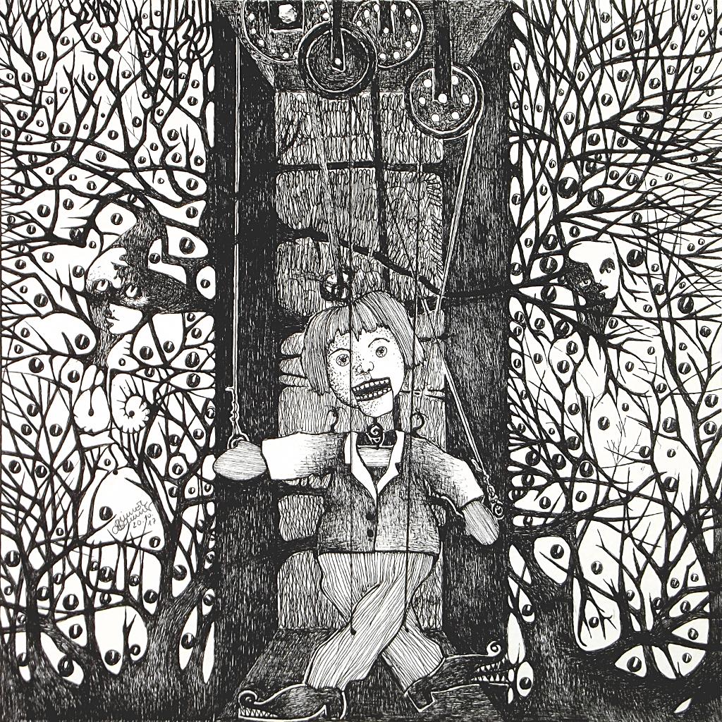 Michael Schmidt: Piemonteser Zeichenbuch, Zeichnung Nr. 50 | Tinte auf Papier | 18,5 x 18,5 cm (Papierformat 25 x 25 cm