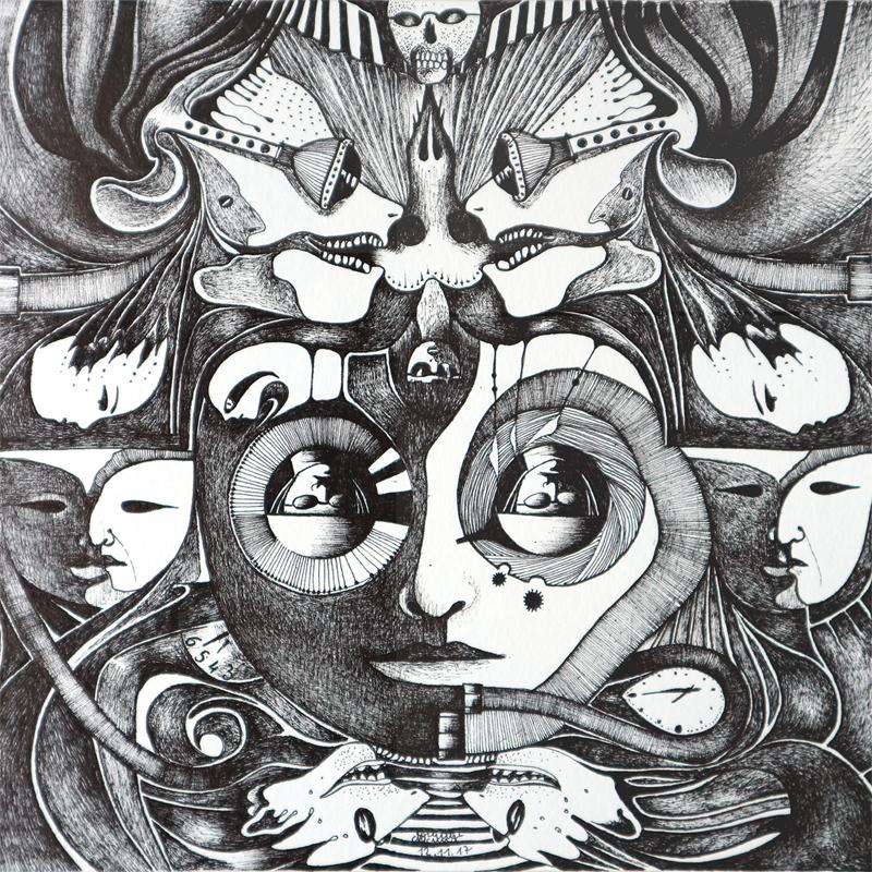 Michael Schmidt: Piemonteser Zeichenbuch, Zeichnung Nr. 50 | Tinte auf Papier | 18,5 x 18,5 cm (Papierformat 25 x 25 cm)