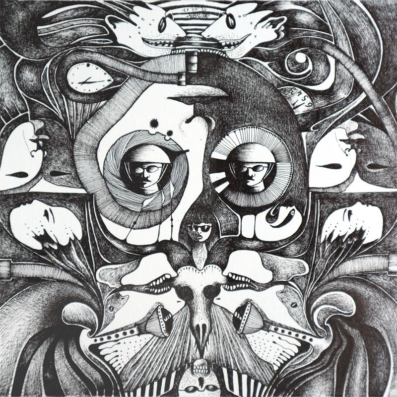 Michael Schmidt: Piemonteser Zeichenbuch, Zeichnung Nr. 50 | Tinte auf Papier | 18,5 x 18,5 cm (Papierformat 25 x 25 cm) - um 180 Grad gedreht