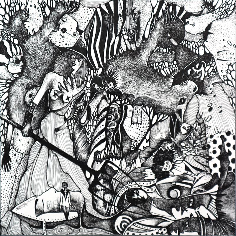 Michael Schmidt: Piemonteser Zeichenbuch, Zeichnung Nr. 52 | Tinte auf Papier | 18,5 x 18,5 cm (Papierformat 25 x 25 cm)