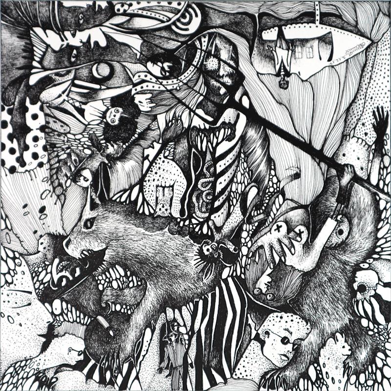 Michael Schmidt: Piemonteser Zeichenbuch, Zeichnung Nr. 52 | Tinte auf Papier | 18,5 x 18,5 cm (Papierformat 25 x 25 cm) - um 180 Grad gedreht
