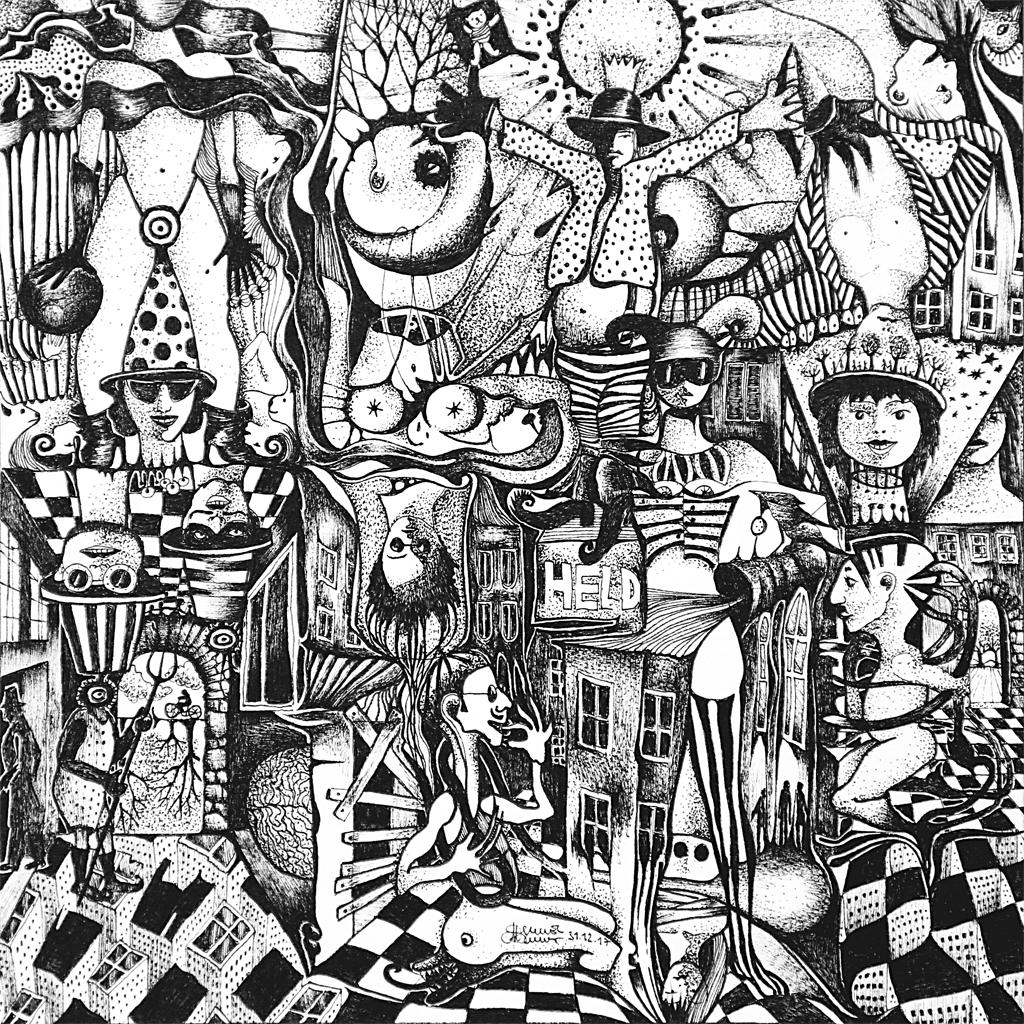 Michael Schmidt: Piemonteser Zeichenbuch, Zeichnung Nr. 53 | Tinte auf Papier | 18,5 x 18,5 cm (Papierformat 25 x 25 cm)
