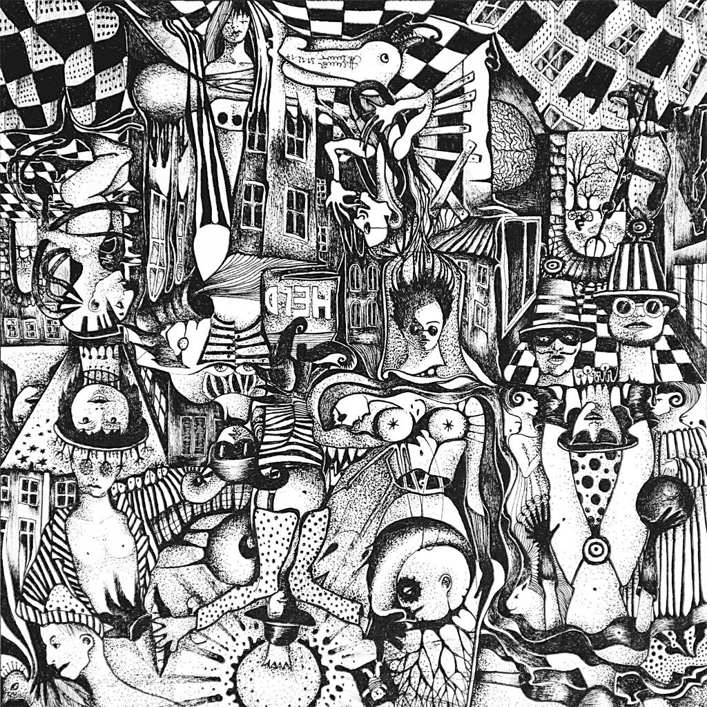 Michael Schmidt: Piemonteser Zeichenbuch, Zeichnung Nr. 53 | Tinte auf Papier | 18,5 x 18,5 cm (Papierformat 25 x 25 cm) - um 180 Grad gedreht