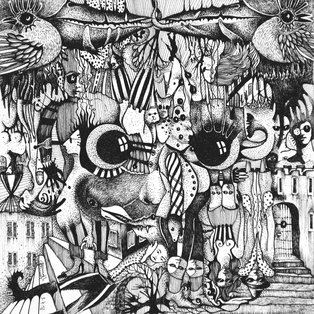 Michael Schmidt: Piemonteser Zeichenbuch Nr. 56 | Tinte auf Papier | 18,5 x 18,5 cm (Papierformat 25 x 25 cm)