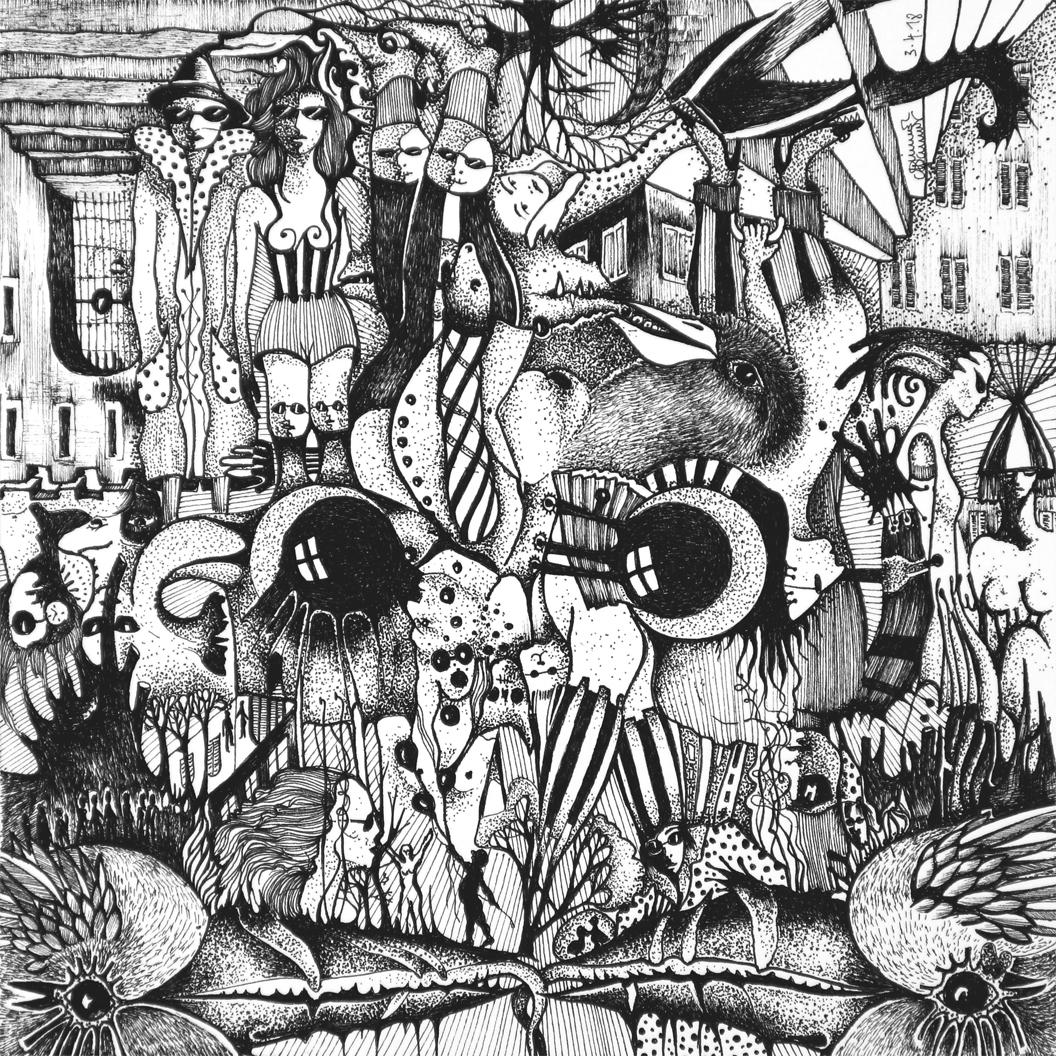 Michael Schmidt: Piemonteser Zeichenbuch Nr. 56 | Tinte auf Papier | 18,5 x 18,5 cm (Papierformat 25 x 25 cm) - um 180 Grad gedreht