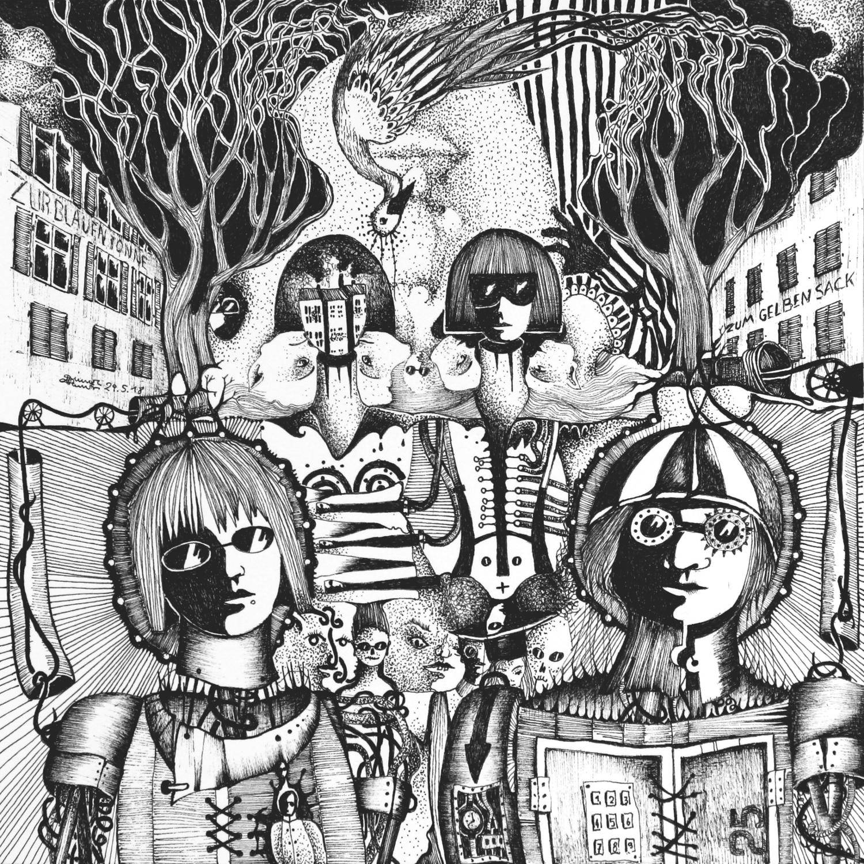 Michael Schmidt: Piemonteser Zeichenbuch Nr. 58 | Tinte auf Papier | 18,5 x 18,5 cm (Papierformat 25 x 25 cm)