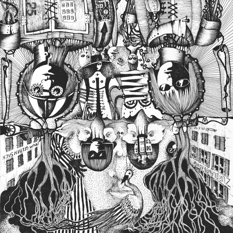 Michael Schmidt: Piemonteser Zeichenbuch Nr. 58 | Tinte auf Papier | 18,5 x 18,5 cm (Papierformat 25 x 25 cm) - um 180 Grad gedreht