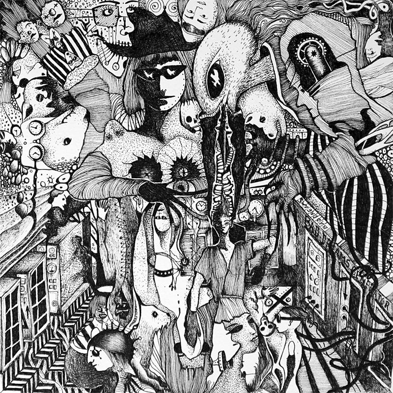 Michael Schmidt: Piemonteser Zeichenbuch Nr. 61 | Tinte auf Papier | 18,5 x 18,5 cm (Papierformat 25 x 25 cm)