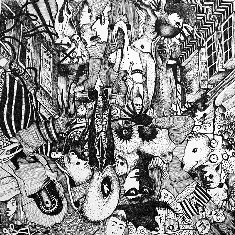 Michael Schmidt: Piemonteser Zeichenbuch Nr. 61 | Tinte auf Papier | 18,5 x 18,5 cm (Papierformat 25 x 25 cm) - um 180 Grad gedreht