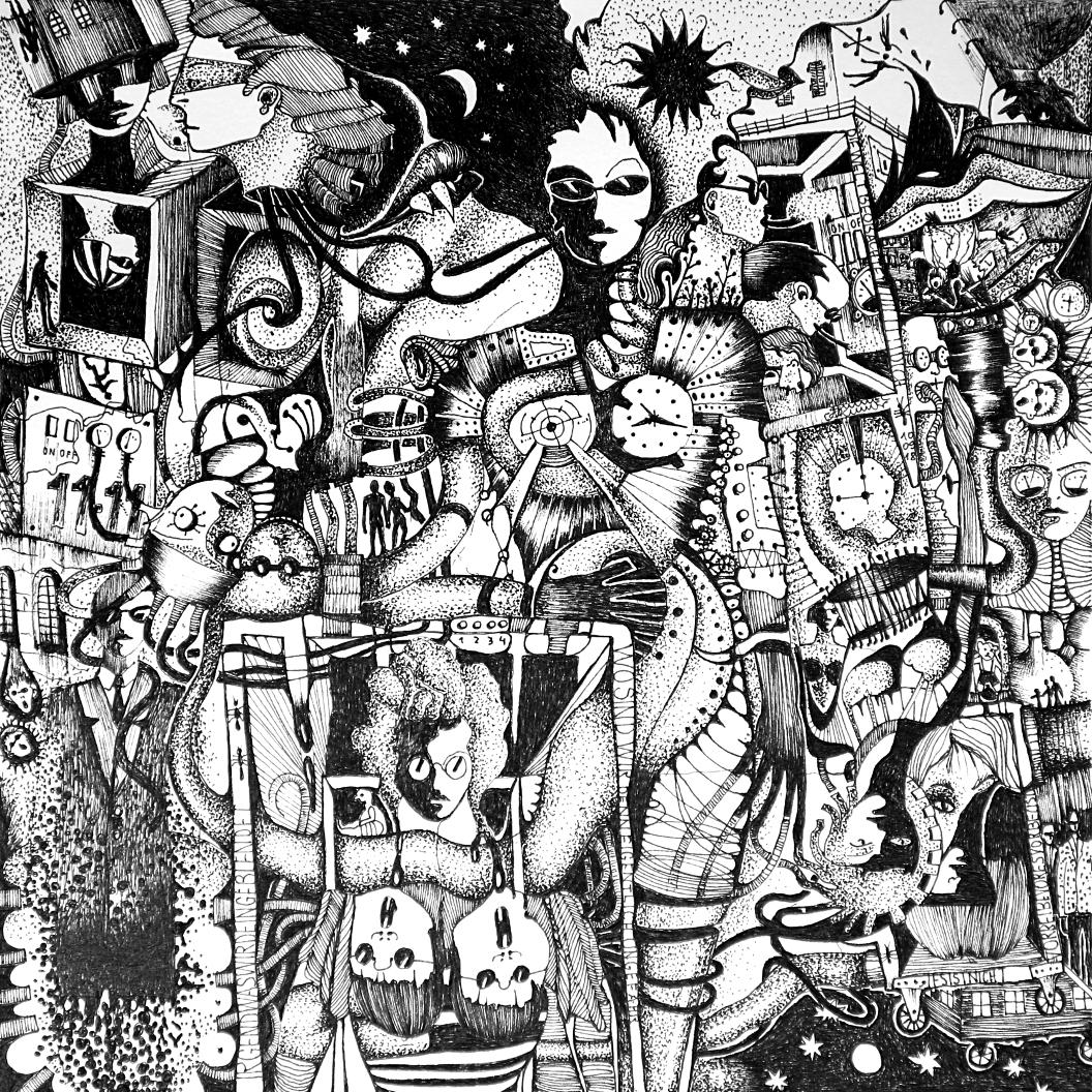 Michael Schmidt: Piemonteser Zeichenbuch Nr. 62 | Tinte auf Papier | 18,5 x 18,5 cm (Papierformat 25 x 25 cm)