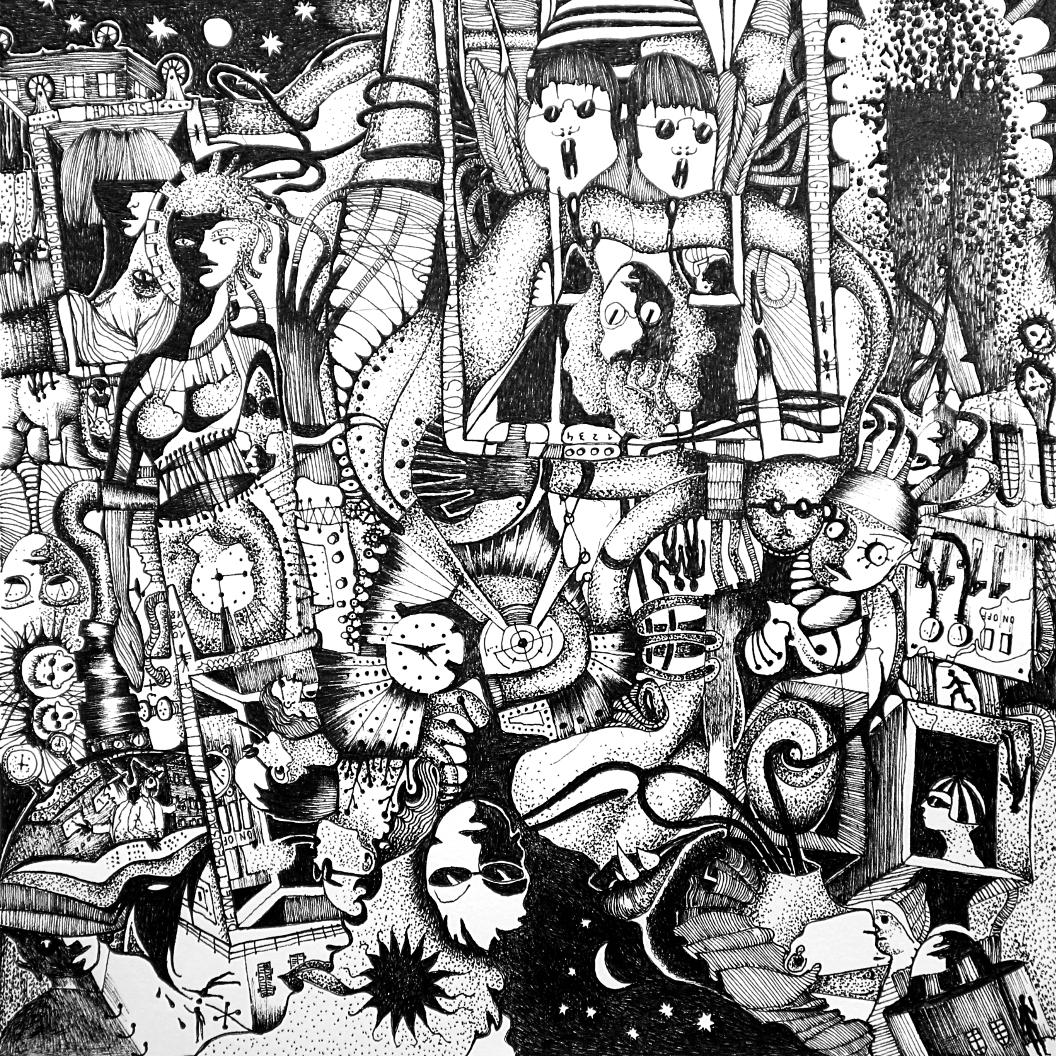 Michael Schmidt: Piemonteser Zeichenbuch Nr. 62 | Tinte auf Papier | 18,5 x 18,5 cm (Papierformat 25 x 25 cm) - um 180 Grad gedreht