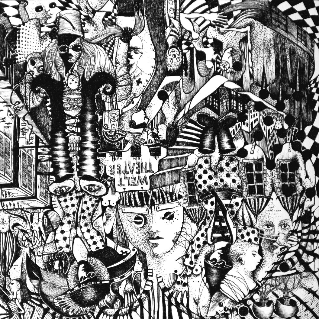 Michael Schmidt: Piemonteser Zeichenbuch Nr. 63 Tinte / Papier ink / paper 2018, 18,5 x 18,5 cm (Papierformat / size of paper: 25 x 25 cm) - um 180 Grad gedreht