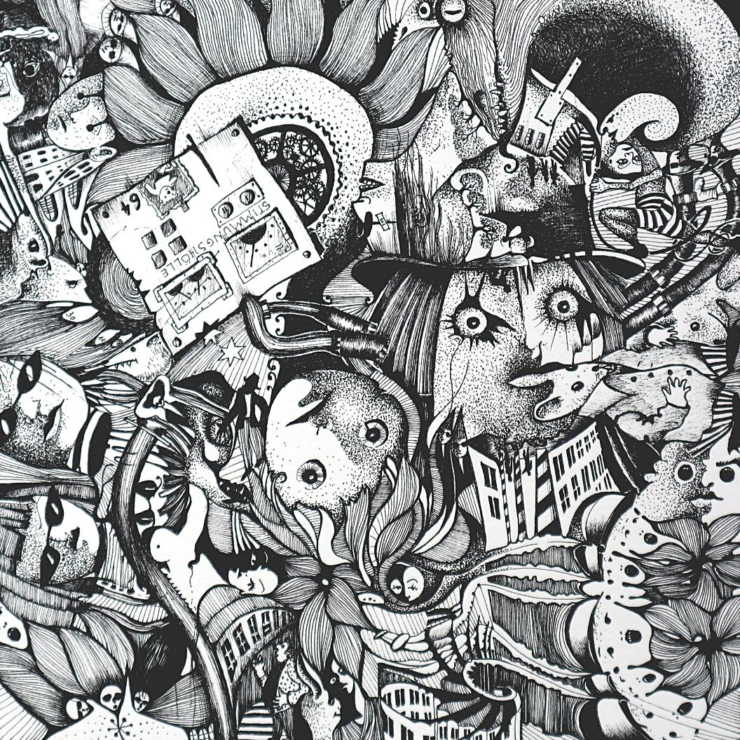 Michael Schmidt: Piemonteser Zeichenbuch Nr. 64 Tinte / Papier ink / paper 2018, 18,5 x 18,5 cm (Papierformat / size of paper: 25 x 25 cm)