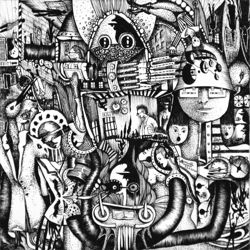 Michael Schmidt | Exit | Tinte auf Papier 17 x 17 cm (Papierformat: 20 x 20 cm)