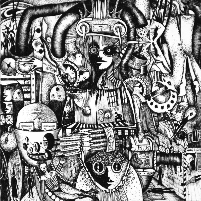 Michael Schmidt | Exit | Tinte auf Papier 17 x 17 cm (Papierformat: 20 x 20 cm), um 180 Grad gedreht