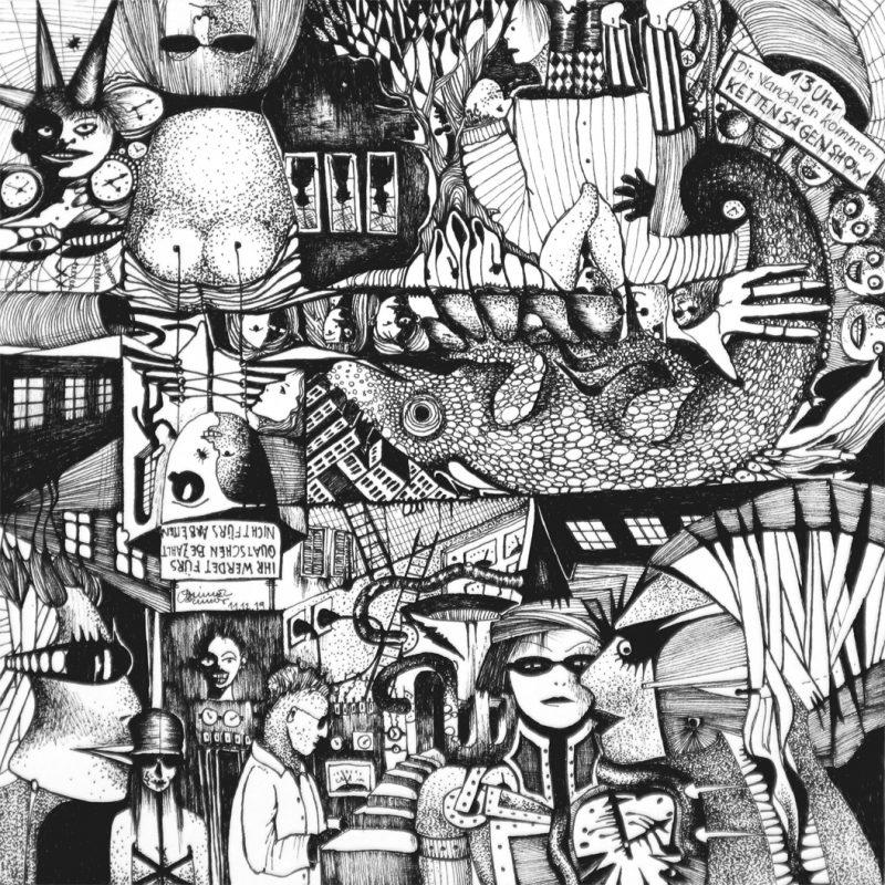 Michael Schmidt | Ihr werdet fürs Quatschen bezahlt, nichts fürs Arbeiten | Tinte auf Papier | 17 x 17 cm (Papierformat: 20 x 20 cm)