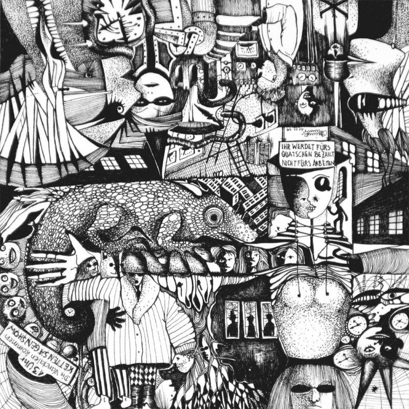 Michael Schmidt | Ihr werdet fürs Quatschen bezahlt, nichts fürs Arbeiten | Tinte auf Papier | 17 x 17 cm (Papierformat: 20 x 20 cm), um 180 Grad gedreht