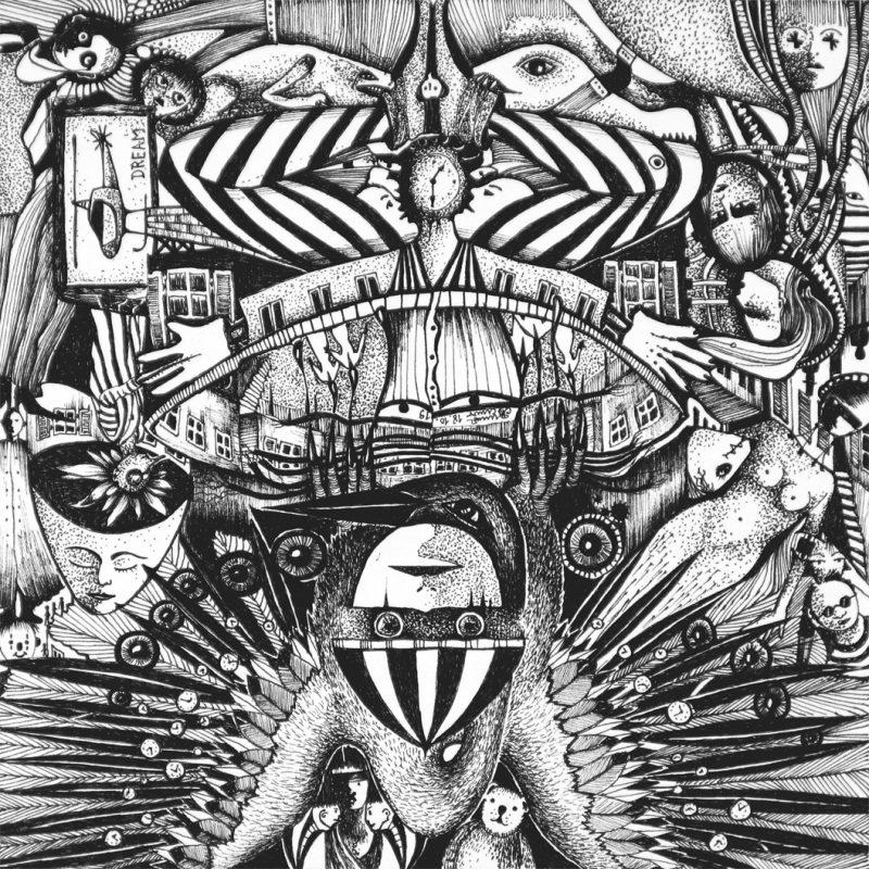 Michael Schmidt | Traumzeit | Tinte auf Papier 17 x 17 cm (Papierformat: 20 x 20 cm), um 180 Grad gedreht