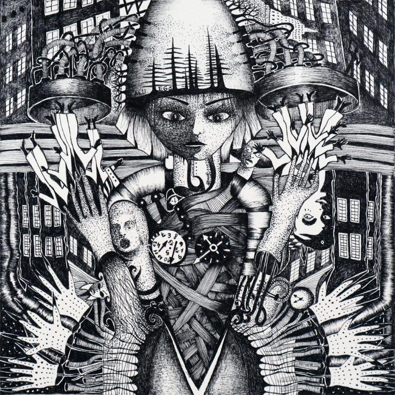 Michael Schmidt: Alu-Ego | Tinte auf Papier | 20 x 20 cm