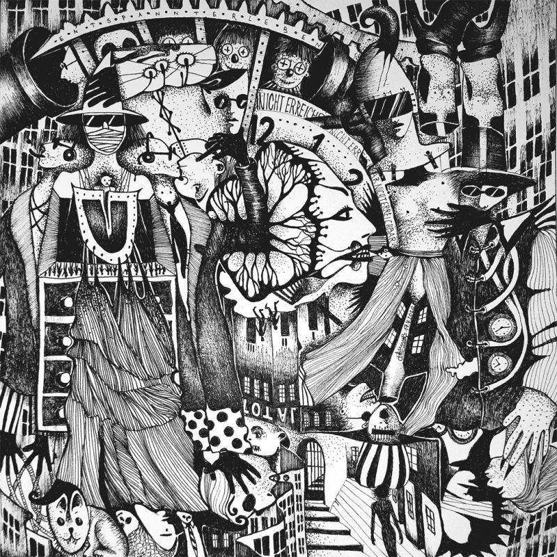 Michael Schmidt: Nicht erreichbar | Tinte auf Papier | 20 x 20 cm