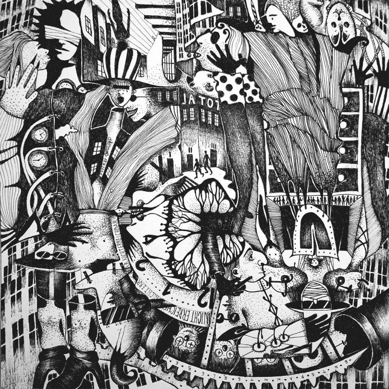 Michael Schmidt: Nicht erreichbar | Tinte auf Papier | 20 x 20 cm | um 180 Grad gedreht
