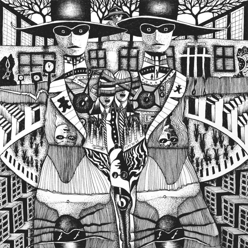 Michael Schmidt: Die eukalyptischen Reiter und ihre Freunde Para und Noia zu Fuß unterwegs | Tinte auf Papier | 20 x 20 cm
