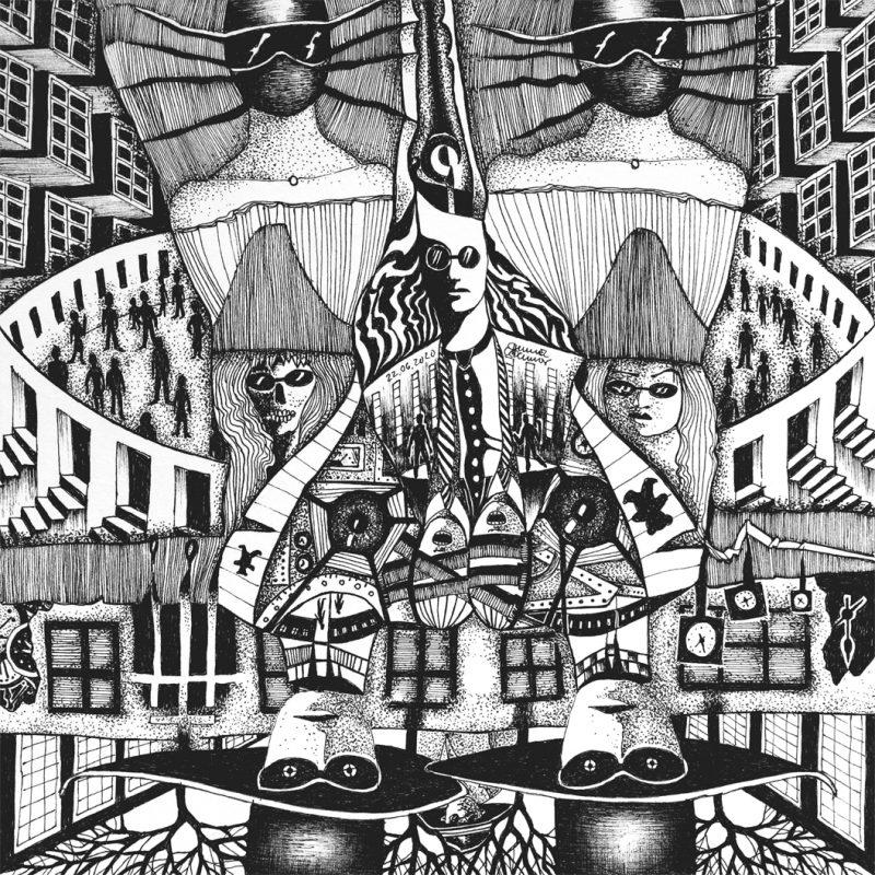 Michael Schmidt: Die eukalyptischen Reiter und ihre Freunde Para und Noia zu Fuß unterwegs | Tinte auf Papier | 20 x 20 cm (um 180 Grad gedreht)