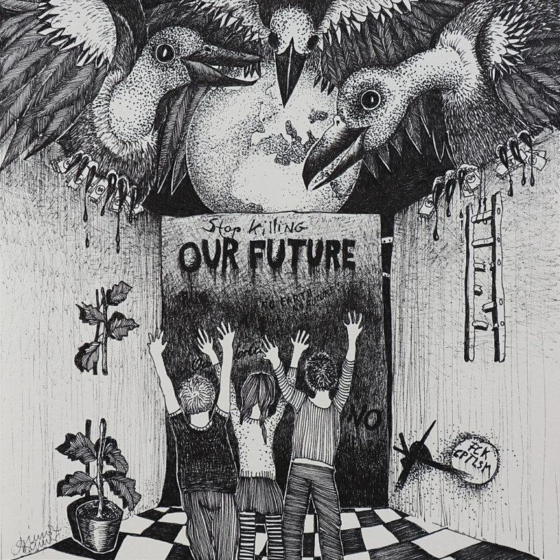 Michael Schmidt: Our Future | Tinte auf Papier | 20 x 20 cm
