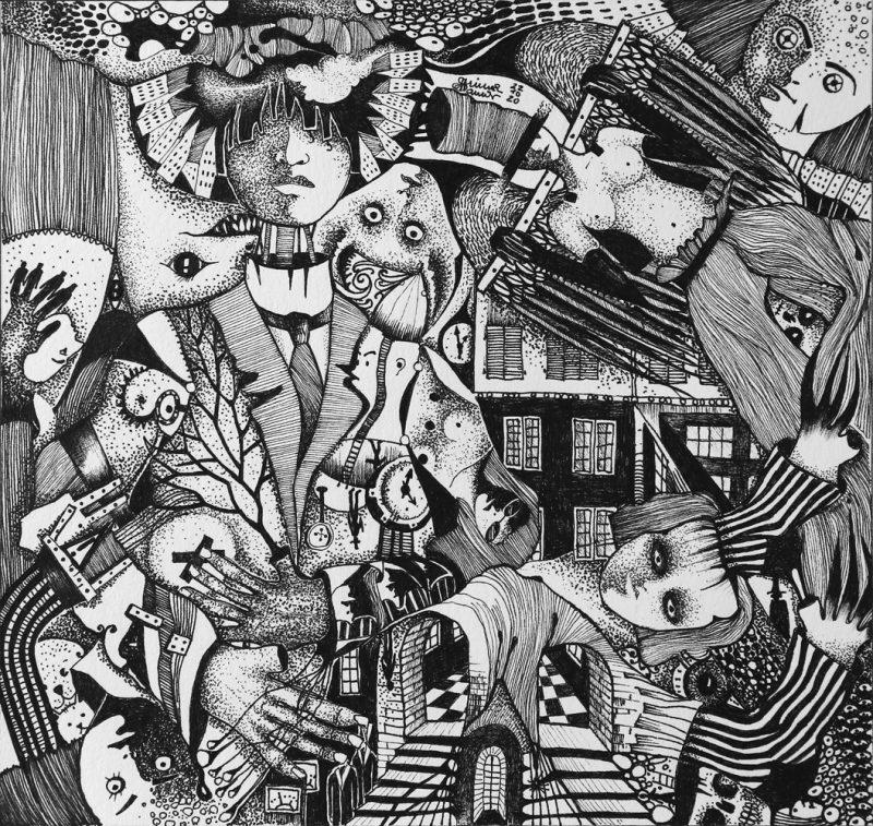 Michael Schmidt: Richter 1,6 - Tinte auf Papier - 24 x 25 cm (Zeichnung 17,5 x 18,5 cm)