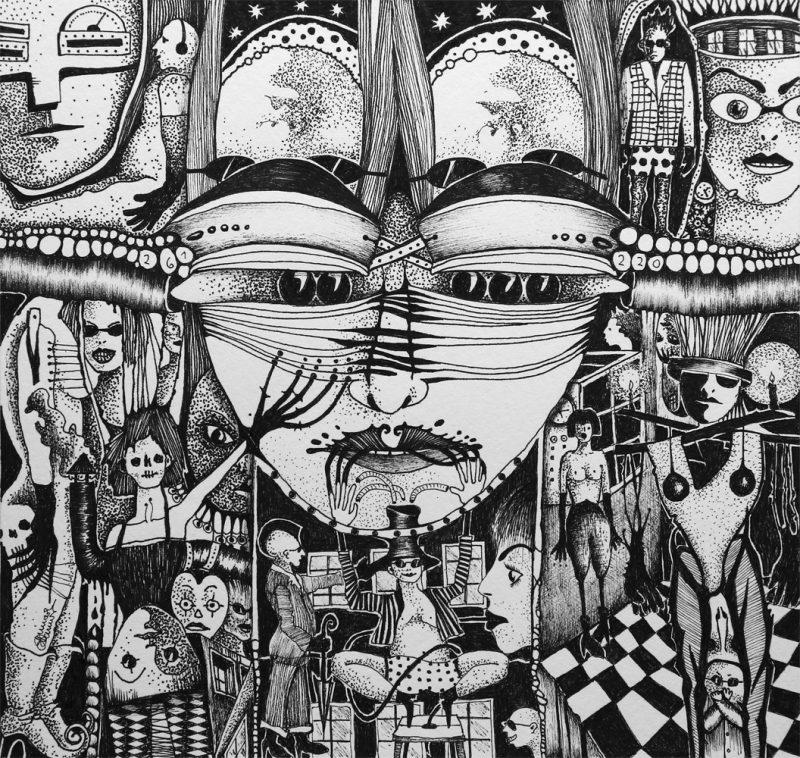Michael Schmidt: Ratlos - Tinte auf Papier - 24 x 25 cm (Zeichnung 17,5 x 18,5 cm)