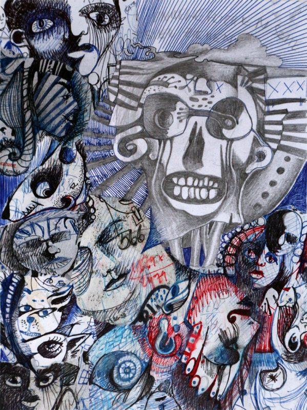 Michael Schmidt: Collage ohne Titel - 23,5 x 17,9 cm (Papierformat 30,5 x 27,8 cm)