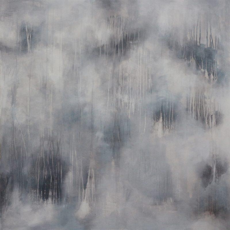 Michael Schmidt: Wüstenregen, 2021, Acryl auf Leinwand, 120 x 120 x 4,5 cm