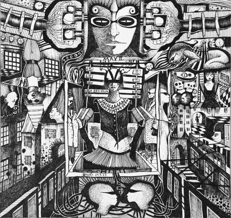 Michael Schmidt: Max der Zweite - Tinte auf Papier - 24 x 25 cm (Zeichnung 17,5 x 18,5 cm)