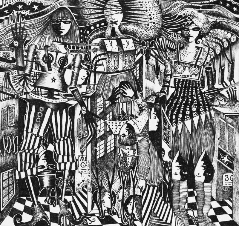 Michael Schmidt: MEGA - Tinte auf Papier - 24 x 25 cm (Zeichnung 17,5 x 18,5 cm)