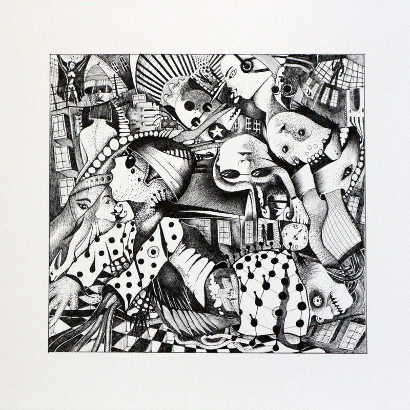 Michael Schmidt: Mein Rücken ist noch nicht 100 Prozent in Ordnung - Tinte auf Papier - 24 x 25 cm (Zeichnung 17,5 x 18,5 cm)