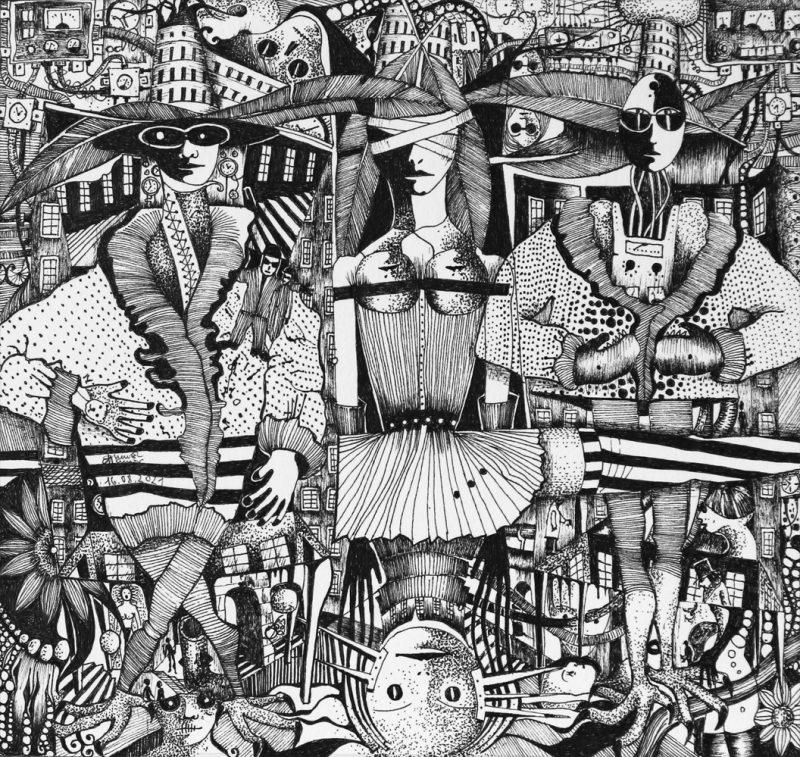 Michael Schmidt: Kein Durchgang - Tinte auf Papier - 24 x 25 cm (Zeichnung 17,5 x 18,5 cm)