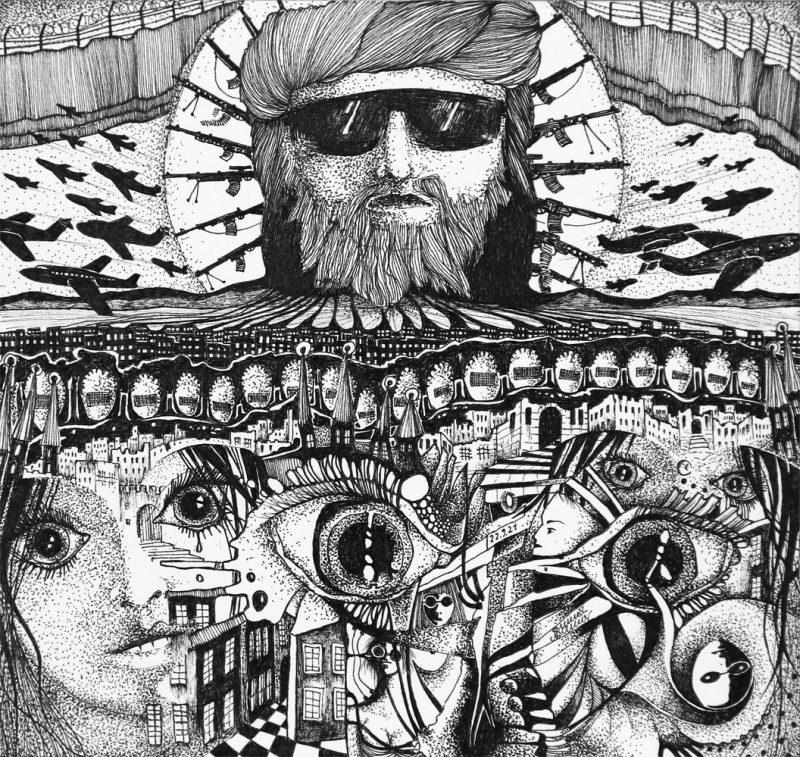 Michael Schmidt: Du zeichnest und dann geschieht irgendwo auf der Welt etwas, das Du nicht ignorieren kannst - Tinte auf Papier - 24 x 25 cm (Zeichnung 17,5 x 18,5 cm)